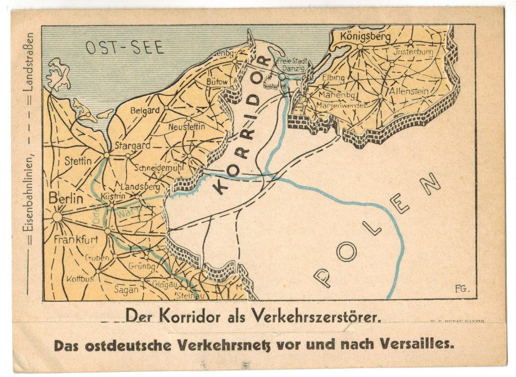 Der Korridor als Verkehrzerstörer - German Propaganda postcard c1933-5 - situation post Versailles