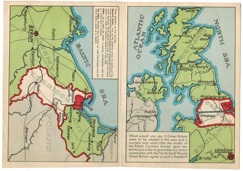 Polish Corridor Propaganda Postcard sent to GB - Aug 1939 - Full card