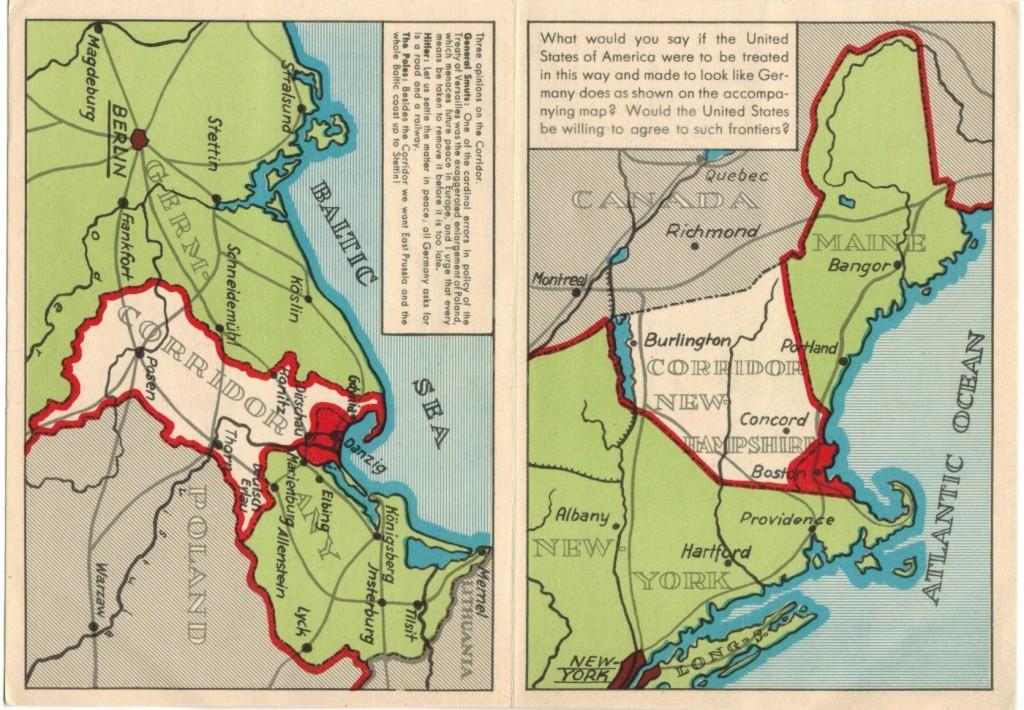Polish Corridor Propaganda Postcard sent to US - Aug 1939 - Full card