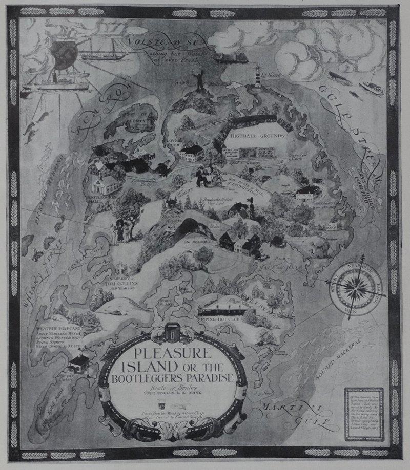 Arthur Crisp & Ernest Clegg - Map of Pleasure Island or the Bootlegger's Paradise - 1925