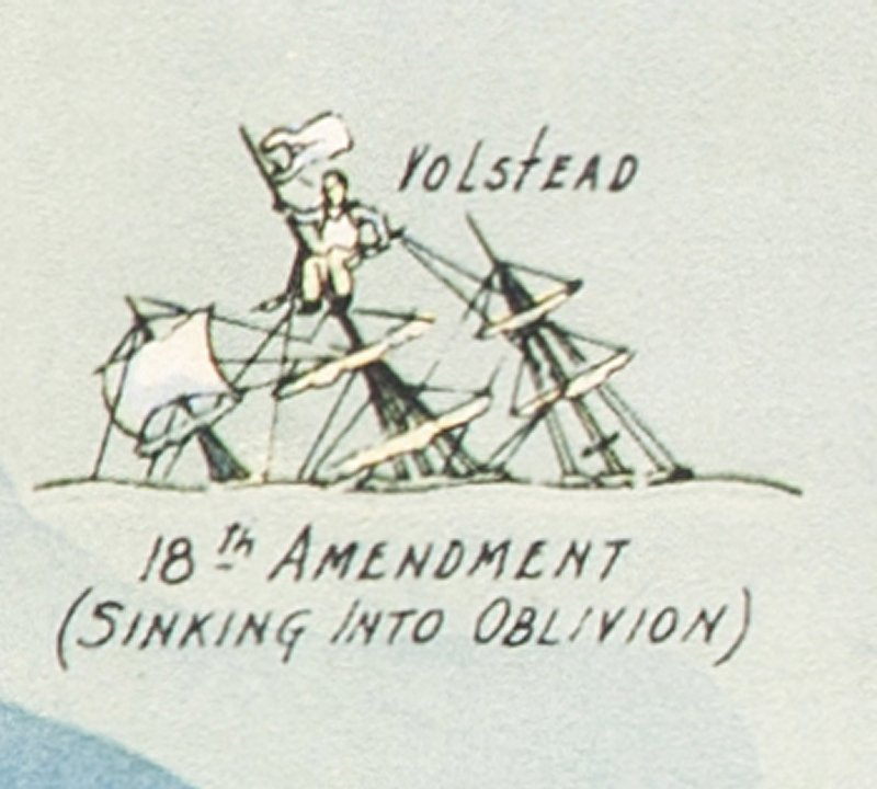 The shipwreck of the 18th Amendment with Volstead in the sinking ship's rigging