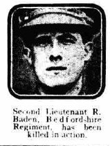 2nd Lt R Baden - C Co 7th Beds - died June 1916 - Daily Mirror 060716 -p6