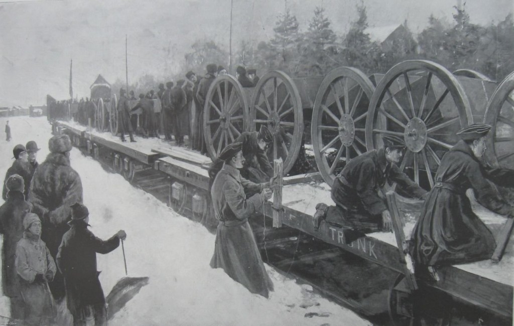 D Battery - Royal Canadian Artillery - entraining at Ottawa for South African War - Suppl ILN 10-02-1900