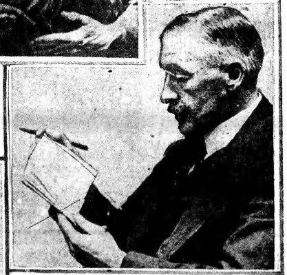 Ernest Clegg displaying wedding gift - American (Chicago) - probably Jan 1922 - detail 01