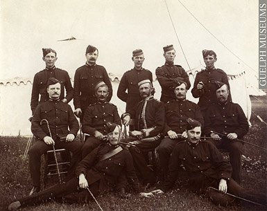 Photograph of D Battery group (McCrae back left) - London Ont c1901 -Guelph Museums