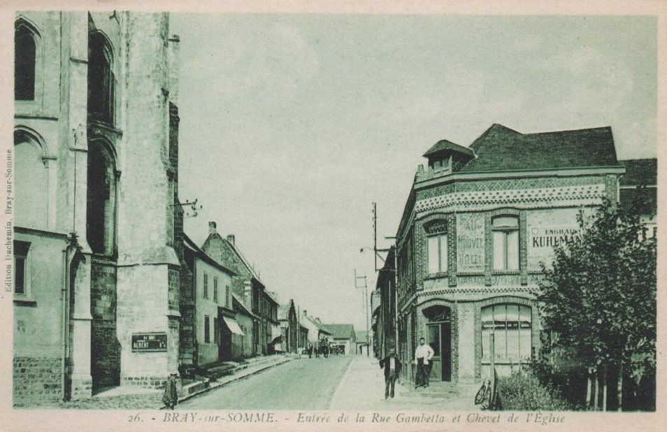 Postcard of Bray-sur-Somme 02- Rue Gambetta - Btn HQ - May 1916
