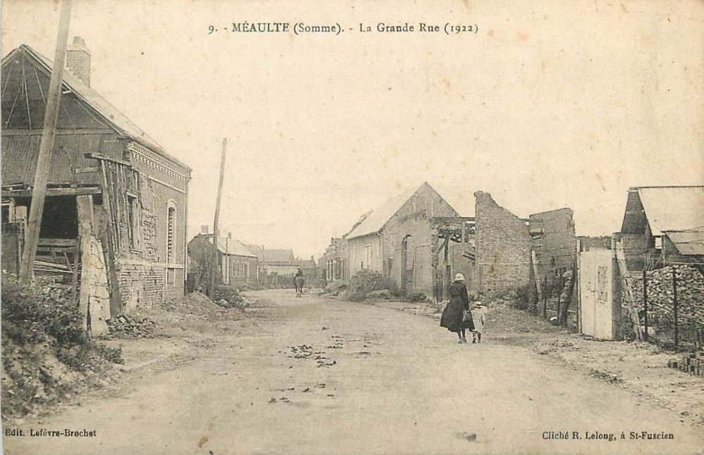 Postcard of Meaulte - Somme - 1914-18 - Main Street as depicted in 1922