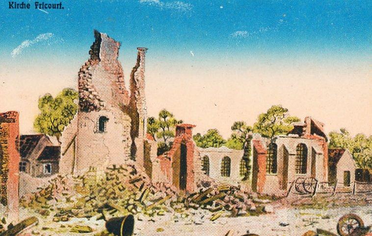 The ruined church Fricourt 1915-16 - German postcard